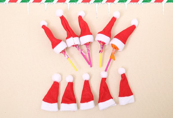 Christmas decorations mini christmas hat Xmas candy cane, non-woven cap