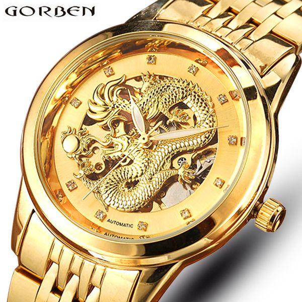 Esqueleto de oro Mecánico Reloj Hombres Automático 3D Tallado Dragón Acero Mecánico Reloj de Pulsera China de Lujo Top Brand Self Wind 2018 D18100706