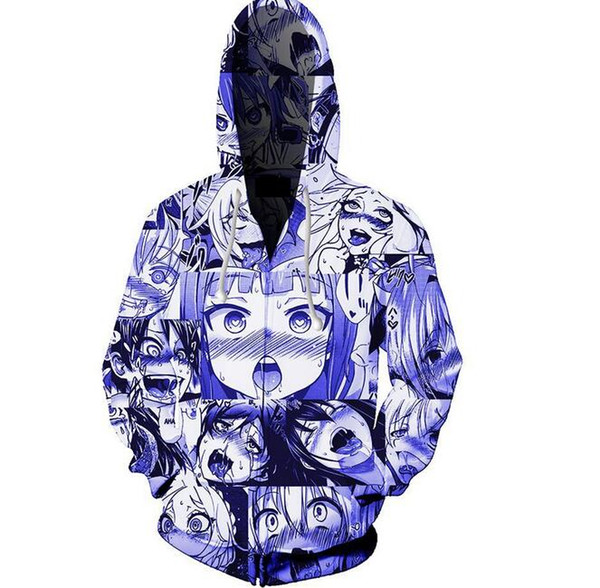 Cartoon 3D Printed Hooded Sweater Sportswear Men and Women Coat Hoodie Zipper Casual Pullover With Pocket