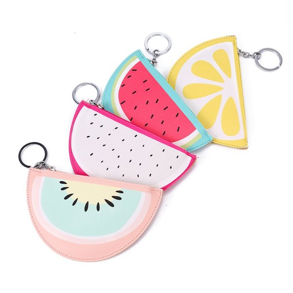 6pcs/lot Cartoon Fruit Women Coin Purse Small Leather Purse Clutch Mini Wallet Watermelon Lemon Pattern Bag Zipper Credit Card Holder