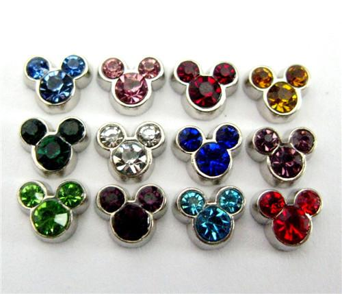 120pcs/lot free shipping mouse head birthstone 10pcs each color good quality alloy DIY floating charms for glass living memory lockets
