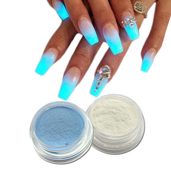 2g Fluorescence Nier Glier Poudre Néon Phosphore Effet Pigment Poudre Nail Art Poussière Manucure Lueur Nylon Poudre Décor LAYS08-09