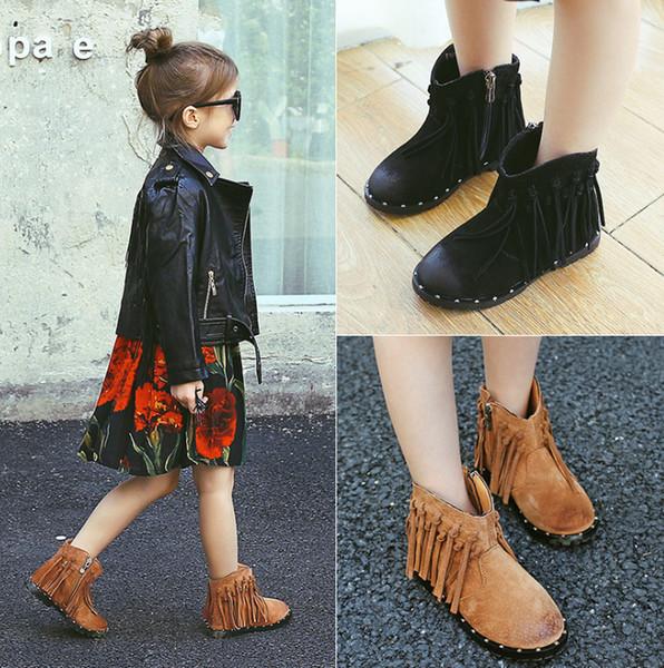 Niñas de moda borla botas cortas niños botas de nieve de cuero genuino otoño invierno niños zapatos al aire libre niños botas de tobillo antideslizante F1337