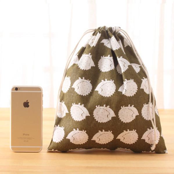 Kızlar için Kawaii Kirpi çocuk Çantası Seyahat Depolama Küçük Dize Bez Çanta Kadın Bağbozumu Pamuk Çanta bayan Para Cüzdan