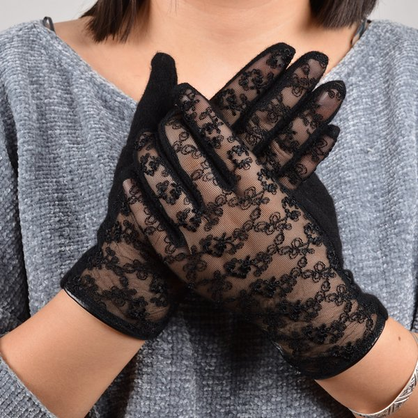 [BYSIFA] Sexy Black Lace Wolle Cashmere Handschuhe Damen Trendy Winter Handschuhe Lace Stickerei Soft Frauen Fäustlinge Pink Grey