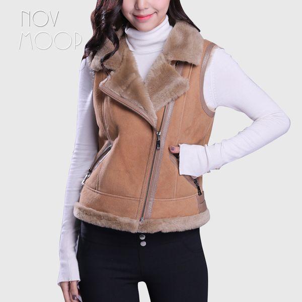 Winter warm women genuine leather real lambskin suede leather shearling vest coat motorcycle jacket real wool fur outwear LT2468