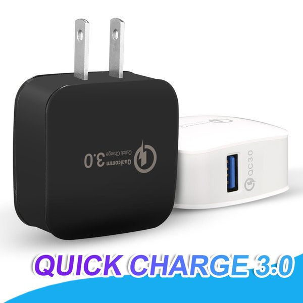 best selling QC3.0 Adaptive Fast Charging Quick Charge Travel Adapter Home Wall Charger US EU Version For iPhone X Samsung S9 Note 9 Without Package