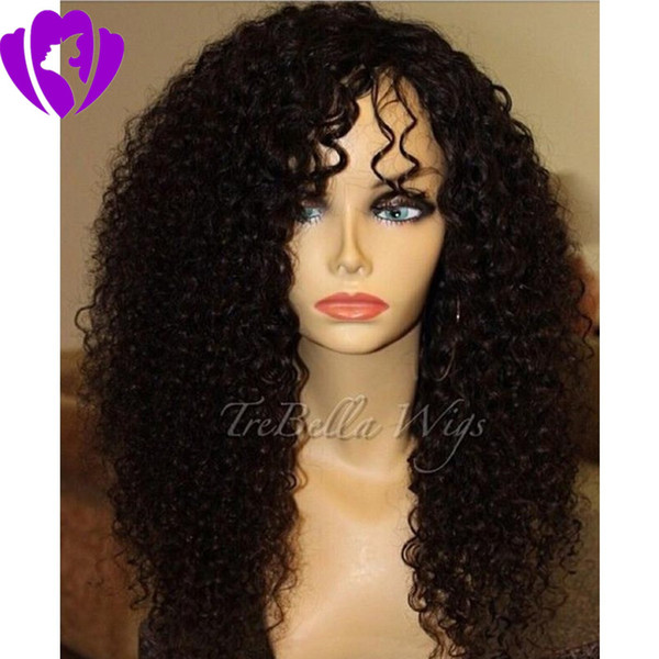 Free shipping side part Kinky Curly Synthetic Lace Front Wigs For Women Black Hair Hand Tied African American Wigs with baby hair