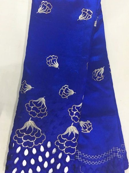5 Yards/pc Hot sale royal blue cotton fabric flower design african George lace fabric for clothes OG2-4