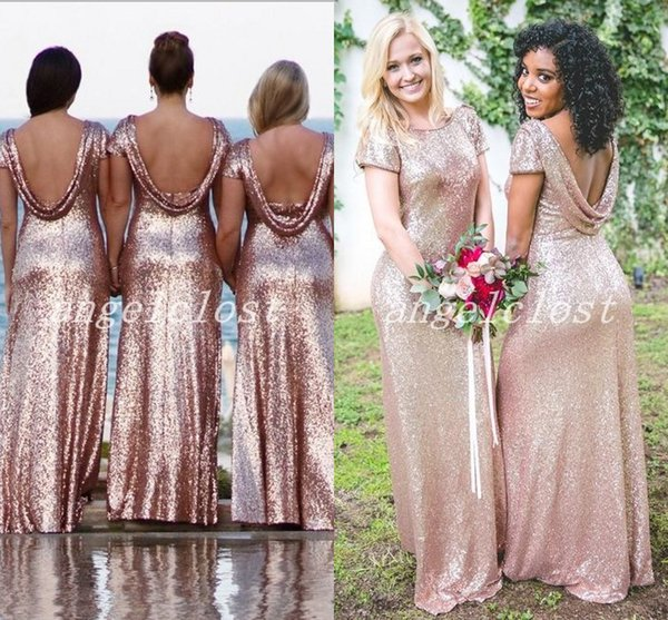 2019 Rose Gold Mermaid Bridesmaid Dresses Draped Back Jewel Cap Sleeve Floor Length Garden Country Wedding Guest Gowns Maid Of Honor Dress