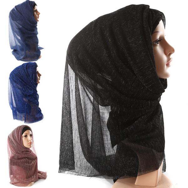 Donne Bubble Hijab Musulmano Sciarpa Scialle Testa Wrap Plain Solid Hip Hop Head Sciarpe di alta qualità Perla Bubble Chiffon Hijab musulmano
