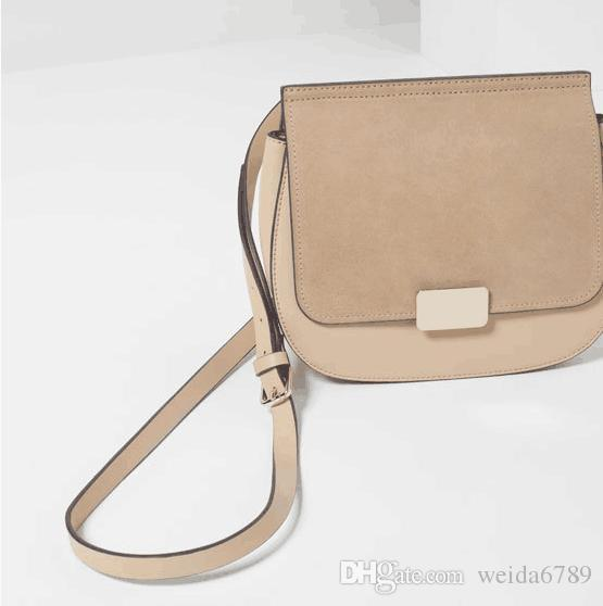 European and American fashion leather stitching material single shoulder bag, cross-body bag, free delivery.