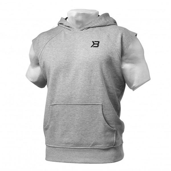 Mens cotton sleeveless Hoodie Gyms Fitness Bodybuilding Solid Sweatshirt New Male Casual Hooded vest clothing Jogger Sportswear