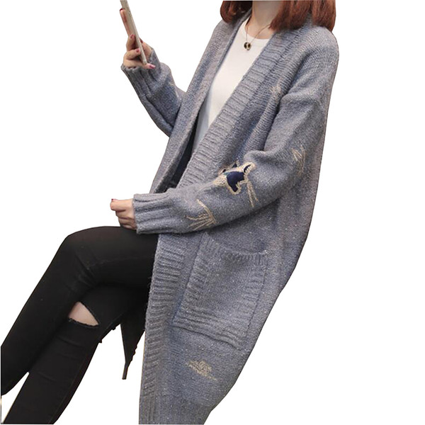 2018 Spring Autumn Women Sweater New Style Fashion Mid-Long Knitting Coat Cardigan Loose Plus Size Female Thick Casual Jacket