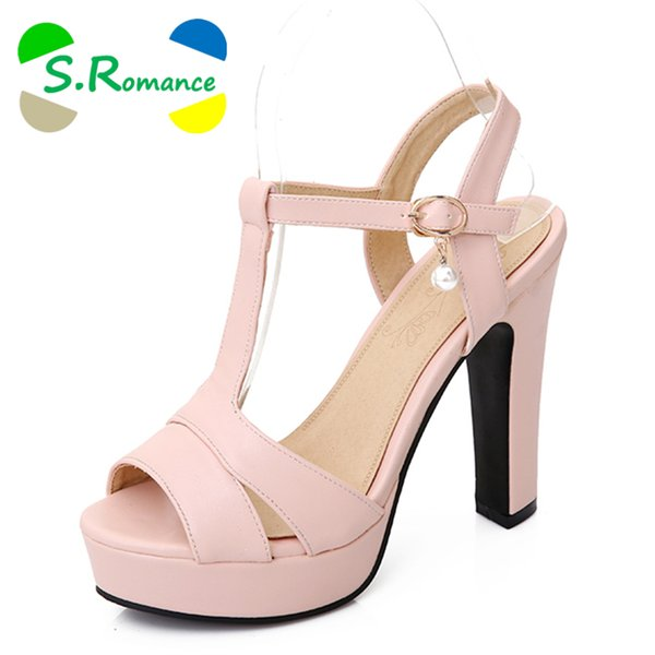 S.Romance Plus Size 34-43 Sandalias Mujer Nueva Moda Gladiador de tacón alto Oficina Lady Pumps Zapatos de mujer Verde Beige Rosa SS868