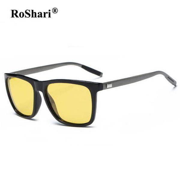 RoShari Polarized Driving Sunglasses women men Night Vision Yellow lens Anti-Glare Sun Glasses for men lentes de sol hombre