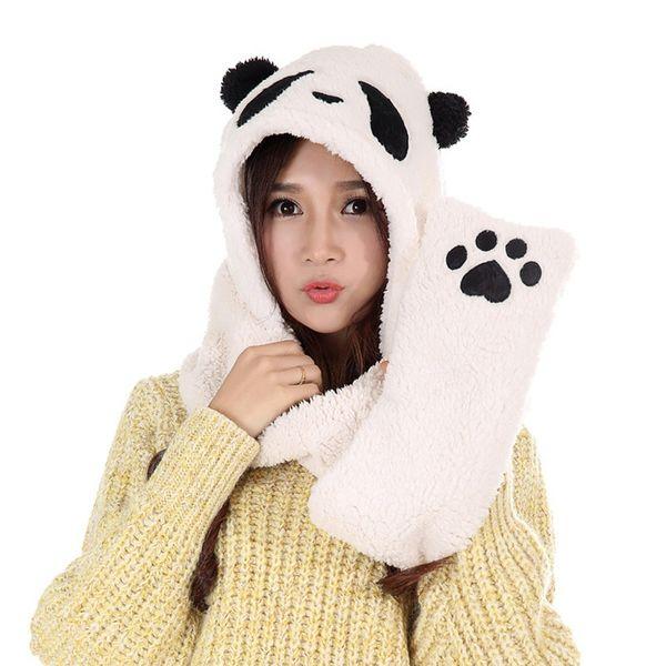 Gants en écharpe chauds de haute qualité en peluche avec un chapeau de panda (Couleur: Blanc)