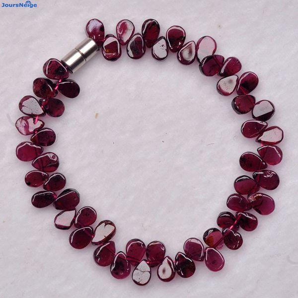 Braccialetti di pietra del granato naturale all'ingrosso del vino rosso dei braccialetti di goccia dell'acqua Braccialetto fortunato per i monili del braccialetto di cristallo del regalo della ragazza delle donne