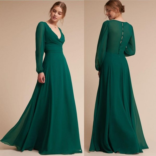 Simple Style Dark Green Sexy Prom Dresses 2019 Vintage V Neck Chiffon Floor Length Button Back Long Evening Gowns Cheap BC0051
