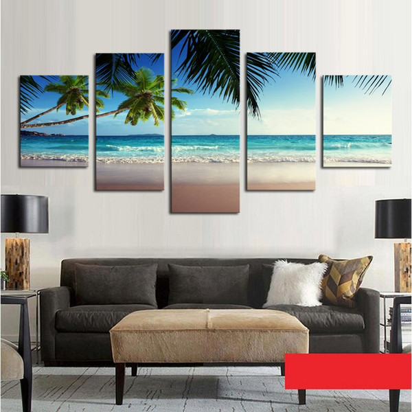 Home Wall Decoration Canvas Popular 5 Panel Coconut Tree Blue Sky And Ocean Beach Seascape Picture Art HD Print Painting Artworks