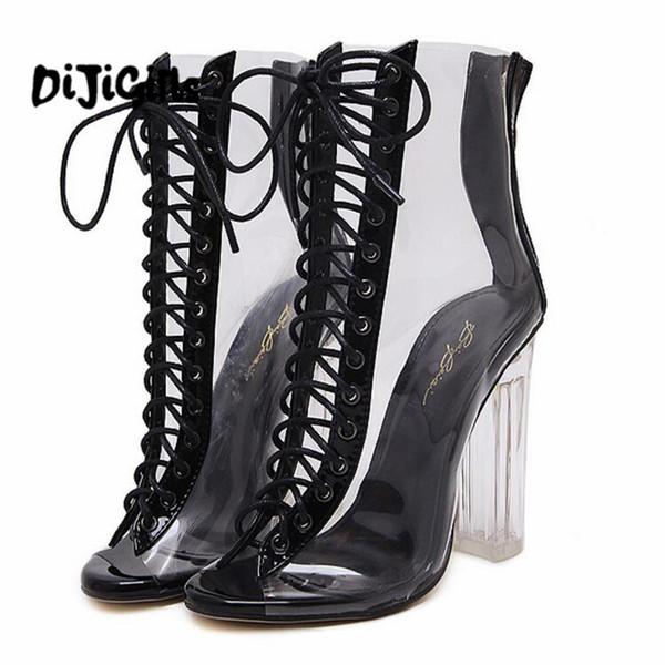 Mulheres Sandálias Gladiador PVC Limpar Bloco de Salto Alto Botas Transparentes Lace Up Alta Top Bombas Bootie Perspex Lucite Sapatos de Verão