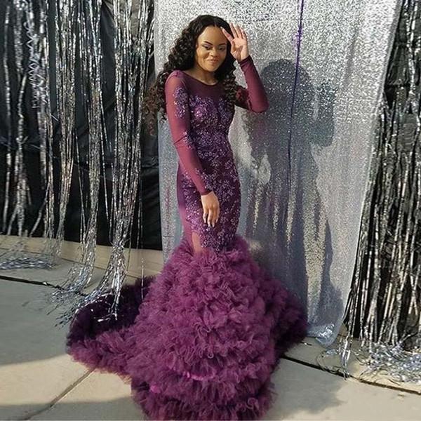African Black Girl Prom Kleider Spitze Applique Long Sleeves Backless Formale Abendkleid Rüschen Tiered Tüll Rock Party Kleider