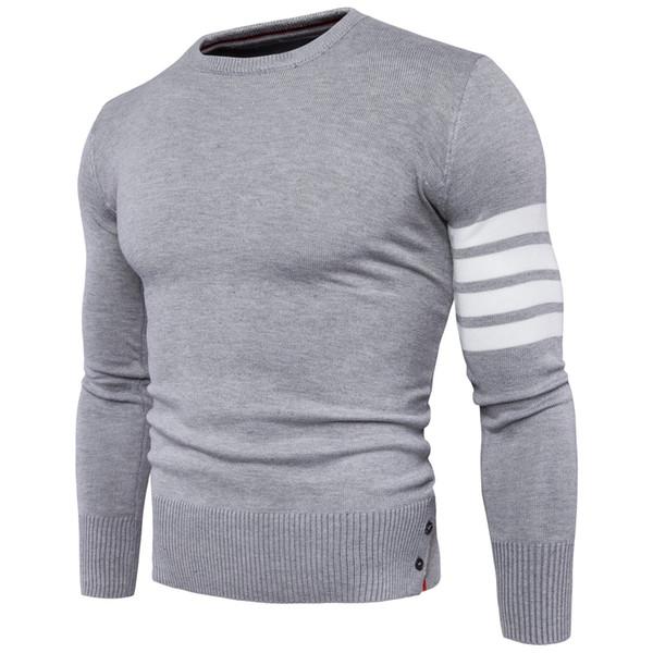 Свитер пуловер мужчины 2017 мужской бренд случайные тонкий свитера мужчины высокое качество манжеты борьба цвет хеджирования О-образным вырезом мужской свитер
