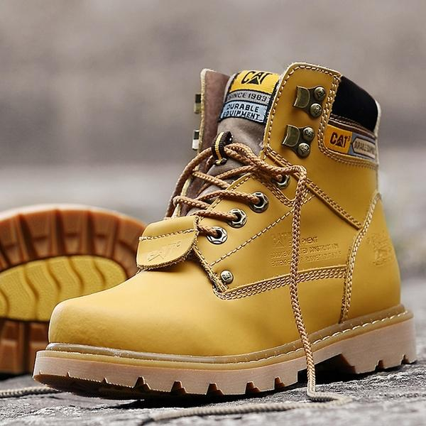 (US 4-13) Mens Womens Hiking Outdoor Work Shoes Martin boots Cowboy Leather Shoes Lovers Waterproof Ankle Boots Puls Size EUR34-47