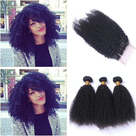 Unprocessed Brazilian Virgin Human Hair Afro Kinky Curly Weave with Closure Three Part 4x4 Lace Front Closure with Virgin Hair Bundles Curly