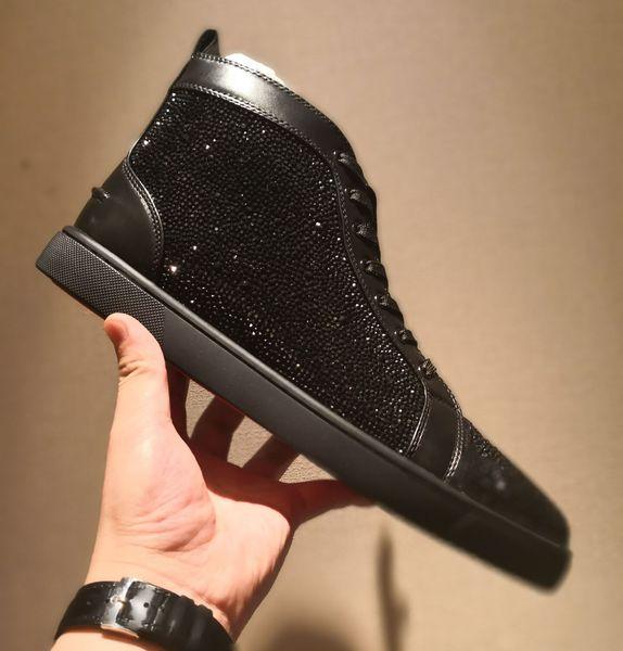 Yeni Sıcak erkek bayan nedensel spor ayakkabı Hakiki deri sivri yüksek kesim sneakers tasarımcı moda paten ayakkabı kırmızı taban Damla nakliye
