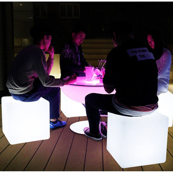 Remote Control Glowing LED Chair 7-Color Led Furniture 40X40X40CM Square Cube Luminous Table Light for Garden/Bar/Party/Wedding/Show