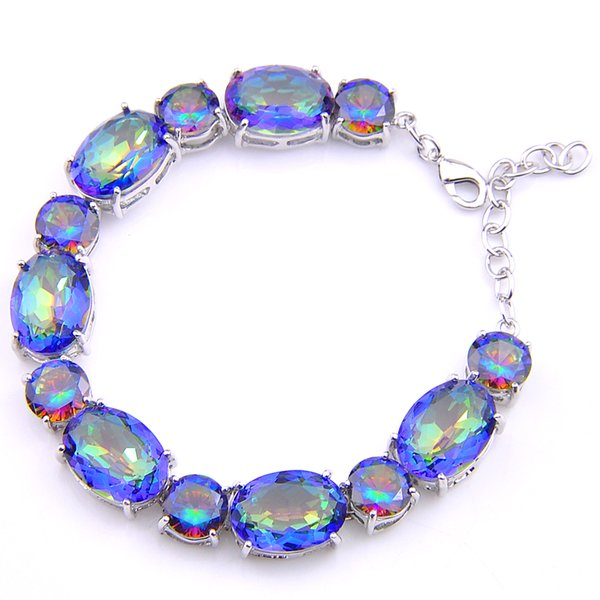 3PCS / LOT Wedding Gift Classic Natural Mystic Topaz Gemstone 925 Sterling Silver Plated Bracelet Bangle Russia Bracelet Jewelry