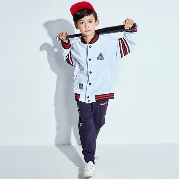 Hip Hop Dance Costume For Boys White Baseball Jacket Kids Street Dance Clothing Girls Stage Performance Jazz Wear DNV10432