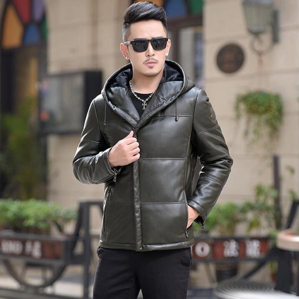 2018 herren winter neue leder daunenjacke männer kurz schlank mit kapuze ledermantel koreanische jugend casual mode männlich reißverschluss jacke flut