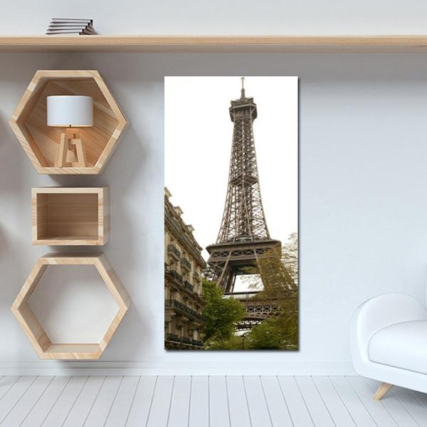 1 Piece HD Print Black and White Pop Art Romantic Paris City Eiffel Tower Landscape Canvas Painting Poster Wall Picture No Framed