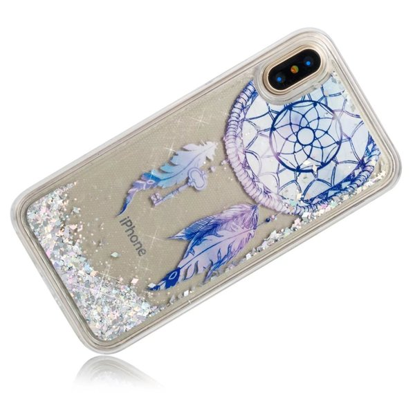 Arc-En-Fleurs Bling Liquide Soft TPU Cas Pour Iphone 7 8 X Galaxy S7 S8 Note 8 Crâne Glitter Quicksand Papillon Étincelle Couverture