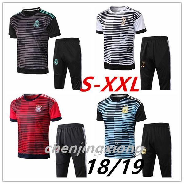 3A + Club 2018 Real Madrid Kurzarm Trainingsanzug 3/4 Hosen-Set RONALDO 18/19 Chandal Uniformen Maillot de foot Survetement Fußballshirts