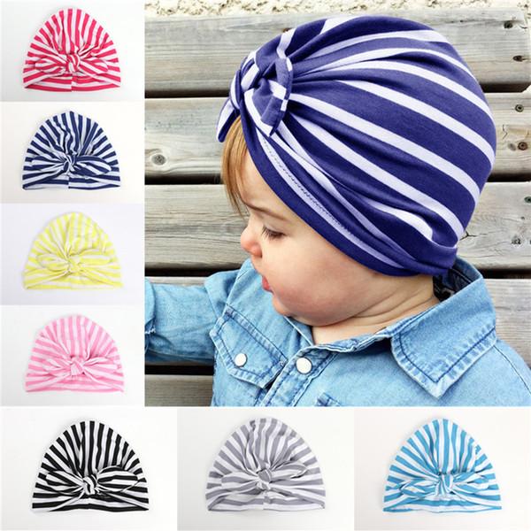 Baby Beanie Caps Rabbit Ear Striped Hats Girls Cute Bow India Cap For Kids Spring Autumn Cotton Hat Cheap Free DHL 673
