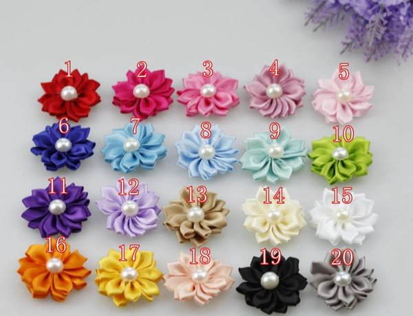 100pcs 4cm DIY Artificial Satin Flowers with Pearl Hair Accessories diy without Clips 20 colors Available