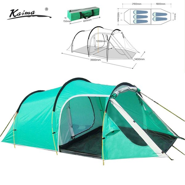 210t Polyester Waterproof Tunnel Camping Tent For 3 4persons One Bedroom One Living Room Double Layer Family And Party Tent Popup Tents Luxury Tents