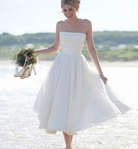 Vintage Tea Length Wedding Dress Strapless Tulle Beach 2016 Wedding Dresses from China Cheap A Line Dress