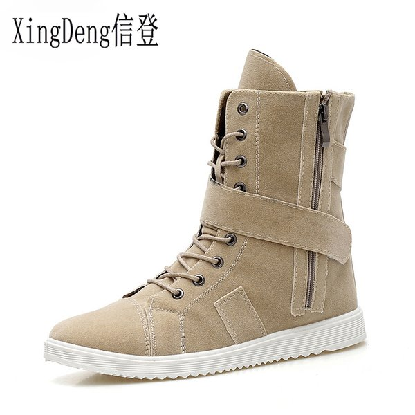 XingDeng Uomo Lace Up Winter Snow Boots taglia 39-44 High Top Zipper Belt Martin Boot imbottito in cotone imbottito caldo