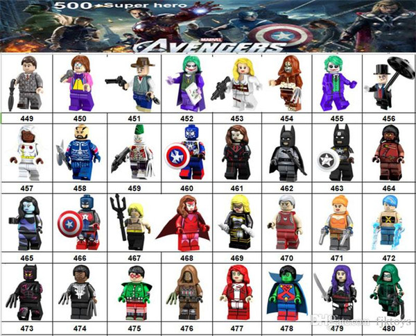 Wholsale Super hero Mini Figures Marvel Avengers DC Justice League Wonder woman Deadpool Batman Logan Hulk building blocks kids gifts