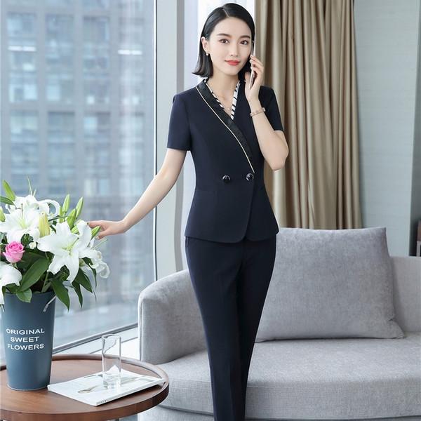 Forma Uniforme Designs Pantsuits Com 2 Peças Tops E Calças Profissionais de Escritório de Negócios Trabalho Desgaste Blazers Conjuntos de Calças