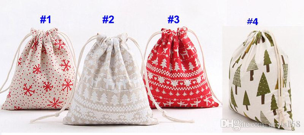 3pcs/lot 2018 Christmas Gift Bag types Storage Bag Cotton Drawstring Bundle Bags Xmas Candy Tea Package Gift Wrap XMAS Decorations