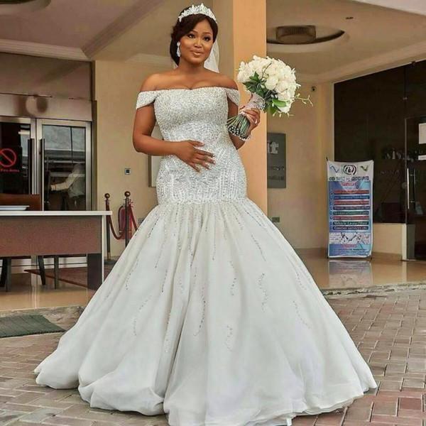 Luxury Heavy Hand Crystal Beaded Mermaid Wedding Dresses Plus size Off The Shoulder Arabic Satin Brdial Gowns Vestidos De Noiva