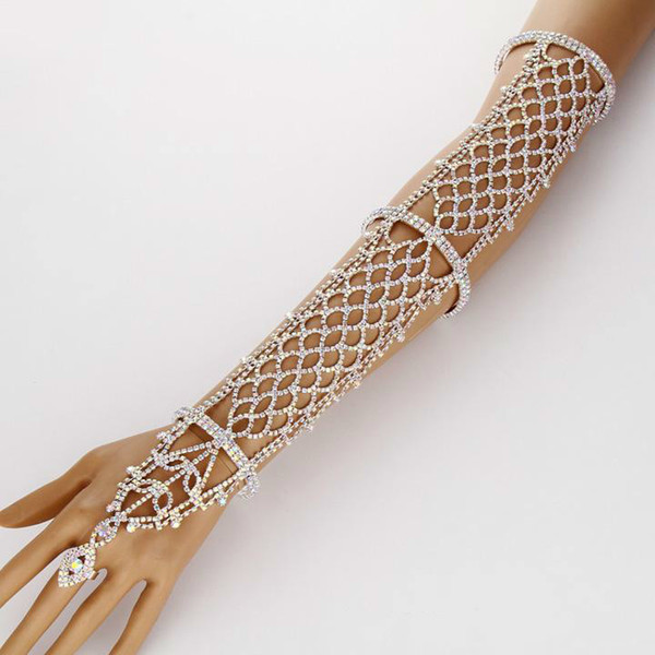 Venta de Mujeres Declaración Pave Crystal Rhinestone Brazalete de la Mano Anillo de Puño Pulsera de Cobre Boda Nupcial Celebrity Belly Dancer Jewelry