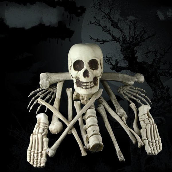 Horrible Simulation Skeleton For Halloween Party Scary Party Scene Props 17 Pieces Broken Bone Skull Haunted House Decor 49ml BB