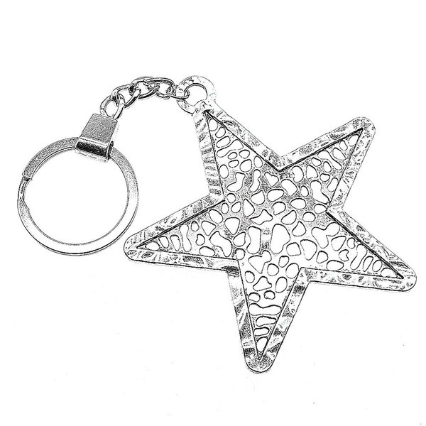 6 Pieces Key Chain Women Key Rings Fashion Keychains For Men Big Hollow Pentagram Star 74x70mm
