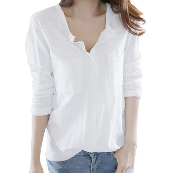 fashionable women's t-shirts Cotton Top Solid Long Sleeve V Neck Work Casual Pocket Shirt 2018 women street wear tshirt chemise